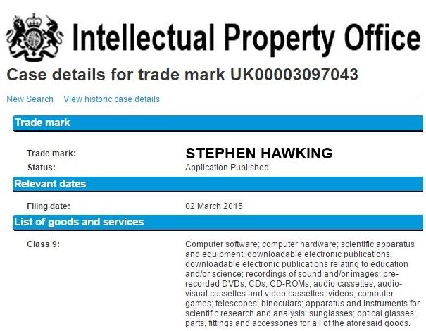 Stepeh Hawking trademark application