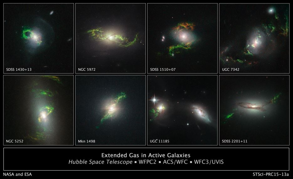 Extended green gas in active galaxies