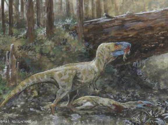 Tyrannosaur feeding on carcass
