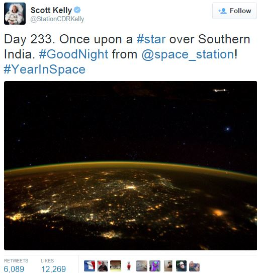 Scott Kelly tweet UFO