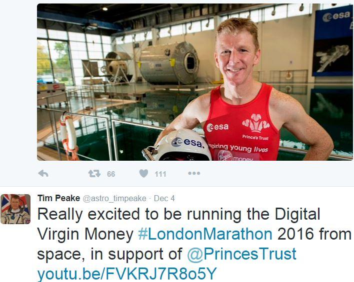British Astronaut London Marathon in Space