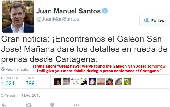 Holy Grail of Shipwrecks San Jose Found President Tweets