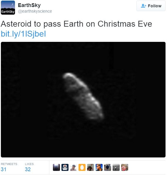 Asteroid to fly on Christmas Eve
