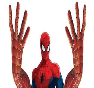 Bizarre Spiderman with huge hands so he could climb walls