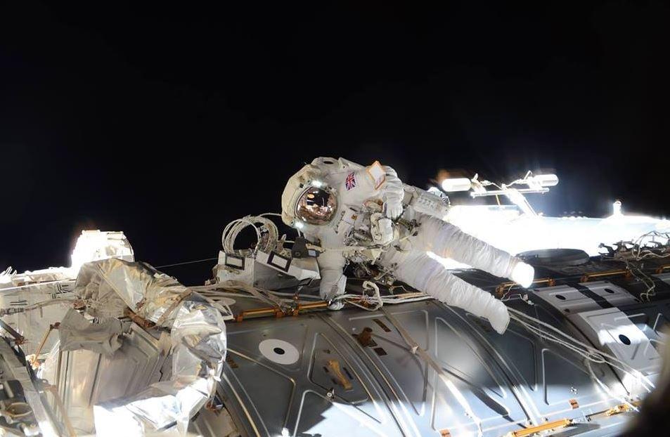 Major Peake floating in space