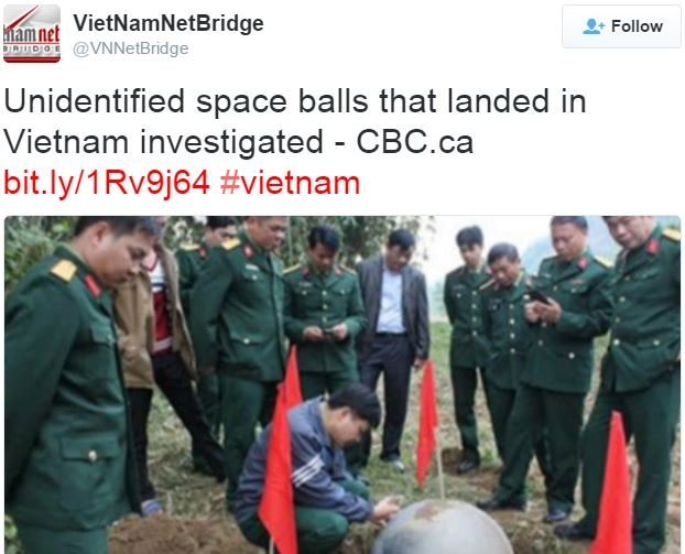 Metal balls being investigated in VietNam