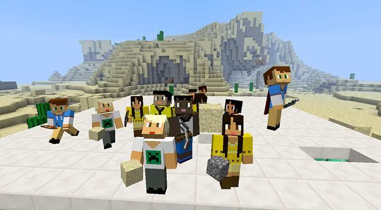 MinecraftEdu students exploring world