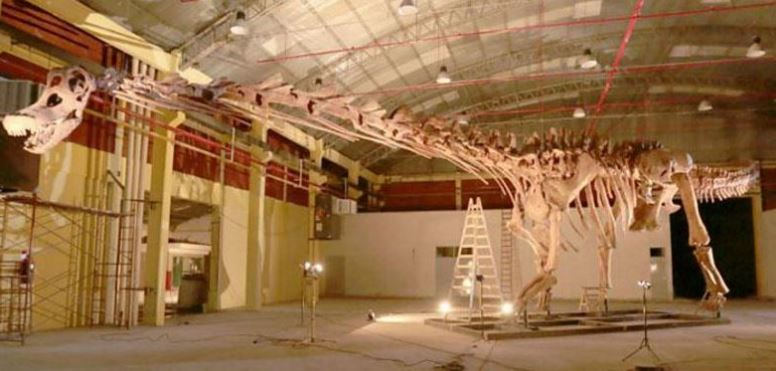 Skeleton model of the worlds largest dinosaur