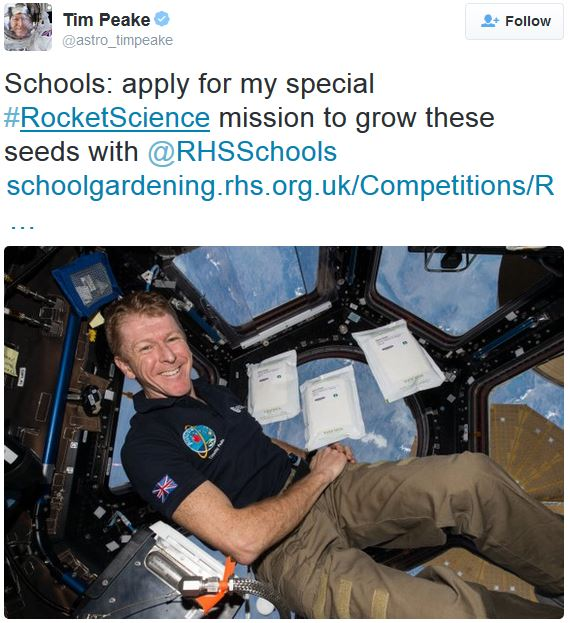 Tim Peake calls on British pupils to join the Rocket Science project