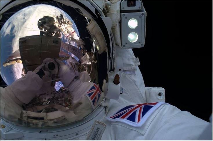Tim Peake selfie during first spacewalk ever by a Briton