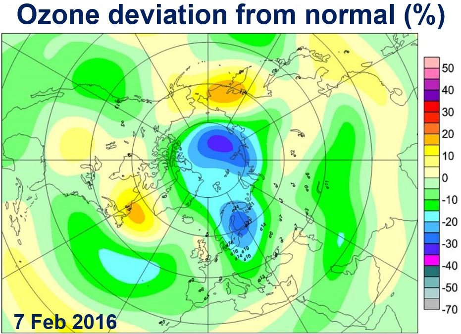 Ozone hole over Arctic this Spring