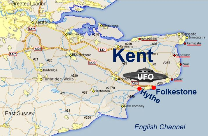 UFO cluster sightings in Folkestone and Hythe