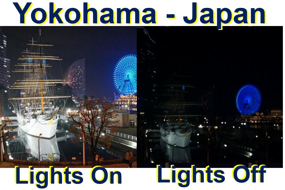 Yokohama Japan lights on and off