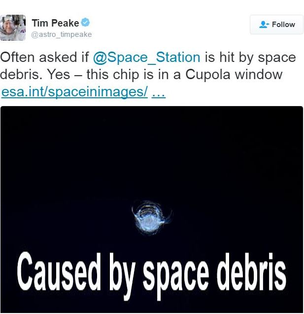 Crack on ISS window caused by debris