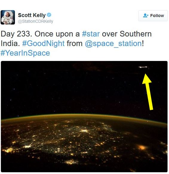 Scott Kelly takes pic of UFO