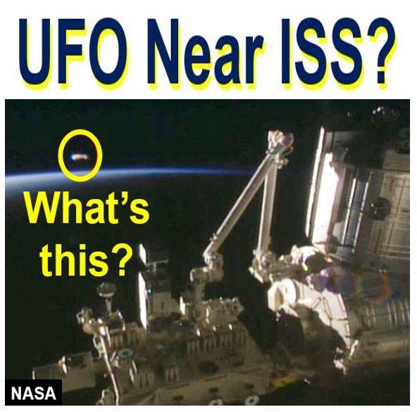 UFO shaped like horsehoe near ISS