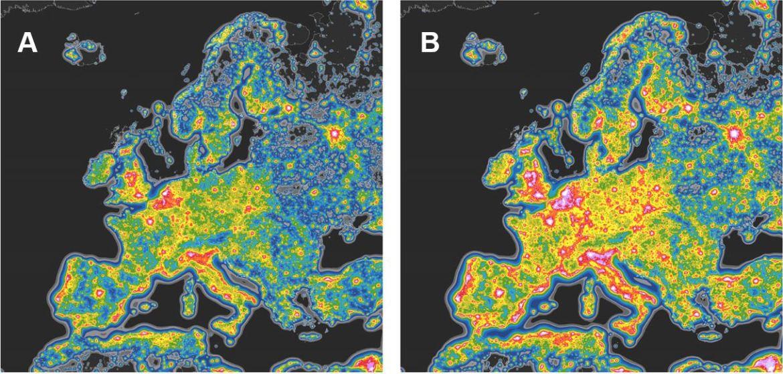 European Night Sky light pollution