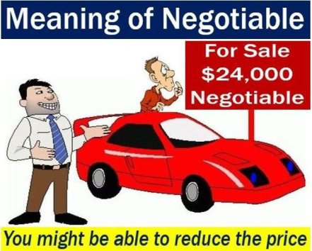 Negotiable - meaning and example