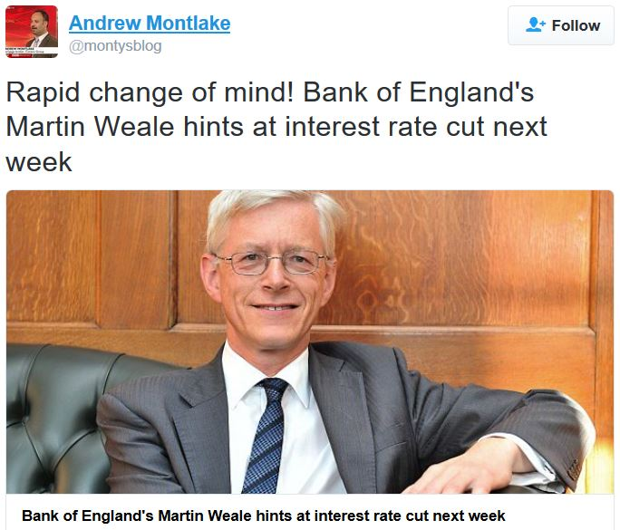 Martin Weale BoE hints at rate cut