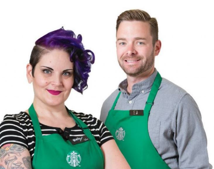 Starbucks partners with own hairtyles and shirts