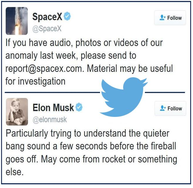 Elon Musk tweets re rocket explosion