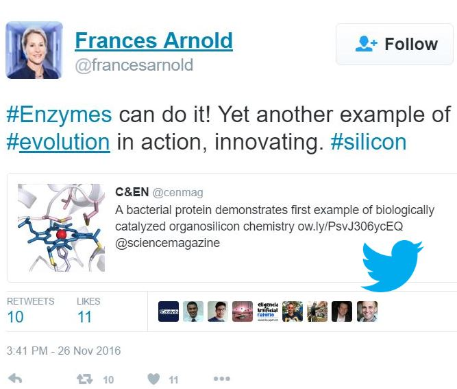 Frances Arnold tweets about silicon
