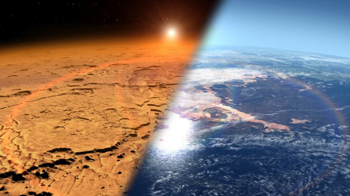Mars atmosphere now and then