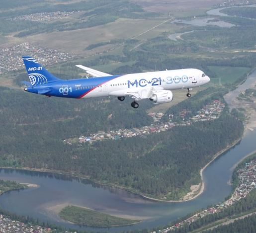 MC-21-300 in the air on its maiden flight