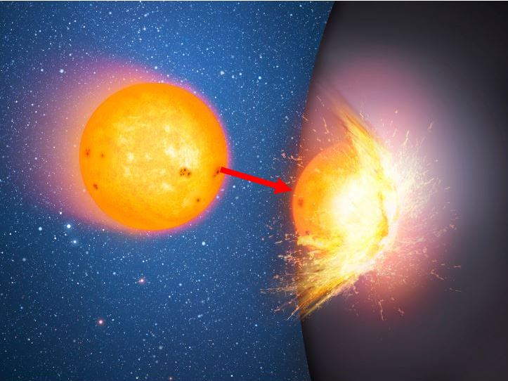 Star smashes into massive sphere