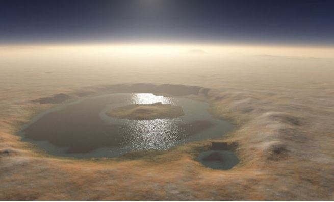 Gale crater full of water