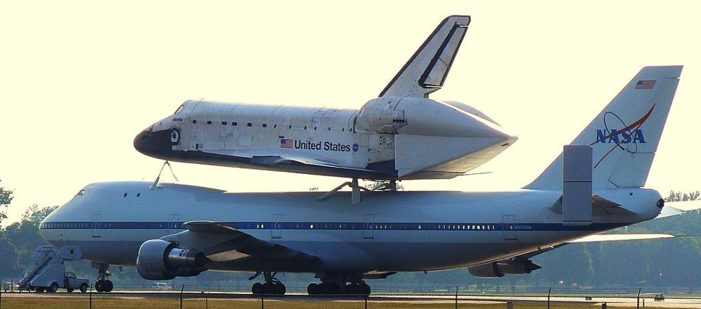 Wide-body aircraft carrying the space shuttle