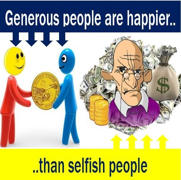 Generous people are happier than selfish people
