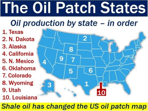 Oil patch states - map