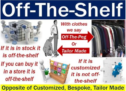off-the-shelf - image with explanation and opposites