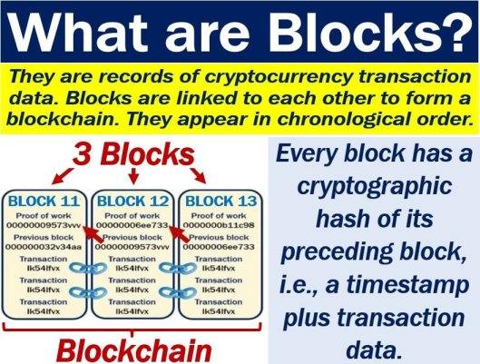 Blocks of a blockchain