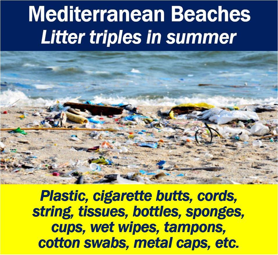 Mediterranean Beaches - volume of litter triples in summer