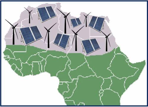 Sahara Desert - wind and solar farms