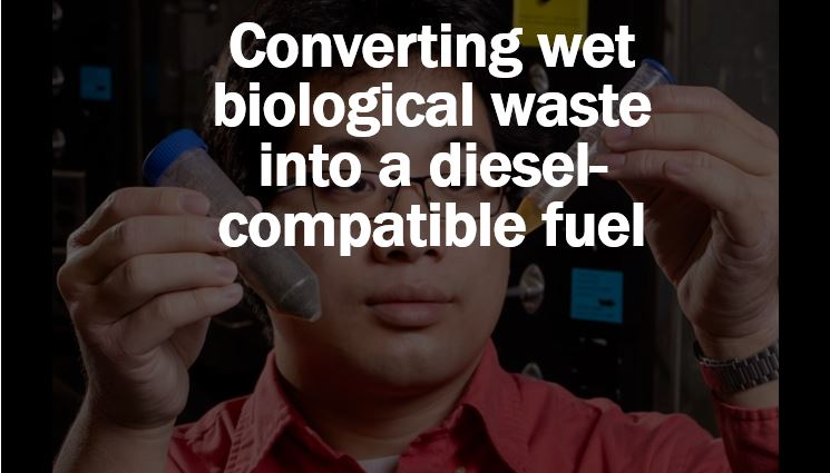 Converting wet biological waste into a fuel we can mix with diesel