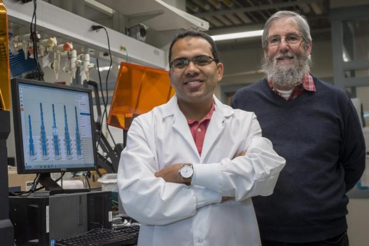 UConn graduate student Mohamed Sharafeldin, and his advisor, Professor James Rusling