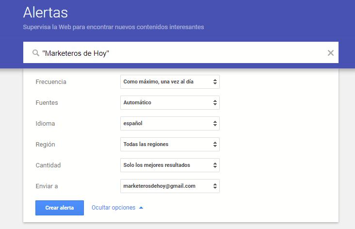 Créer des alertes Google: configurer des options spécialisées