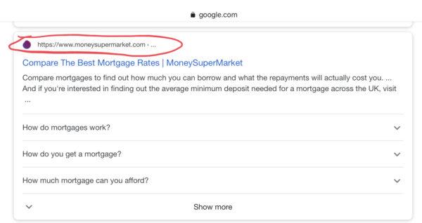 URLを含む検索結果表示の例