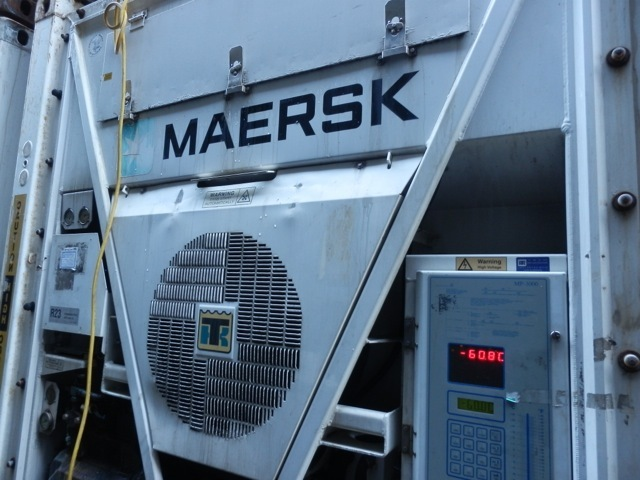 Reefer containers can be cold - see the temperature ! it contains frozen tuna for Japan