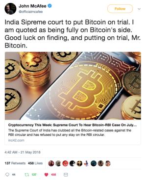 John Mcafee's Tweet