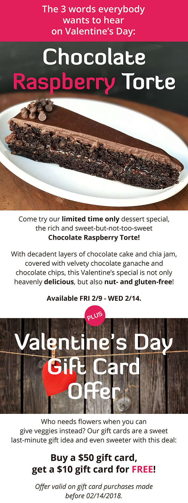 Limited Time Valentine's Day Dessert PLUS Gift Card Deal!
