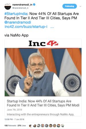 Narendra Modi Tweets Inc42 Story