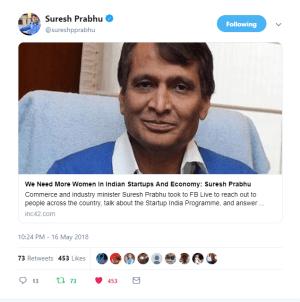 Suresh Prabhu's Tweet