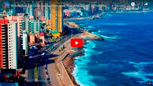 Antofagasta in Chile, port , urban area, Atacama Desert, la Portada