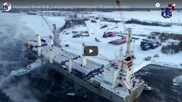 Hanseatic Break Bulk Lianyungang to Holmsund I 72 tower sections