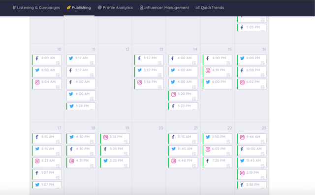 example of a content marketing calendar