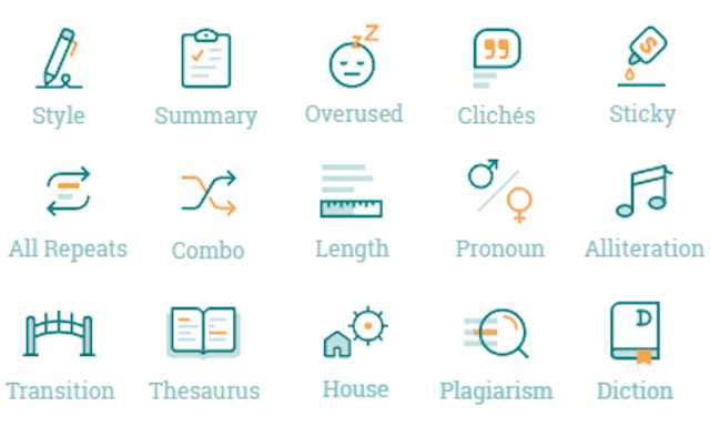 icons for all 20 prowritingaid reports